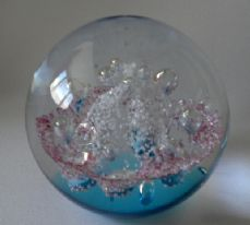 Glass Round Bubble paperweight. Blue